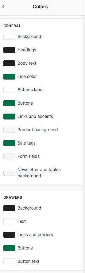 Shopify Colors Settings