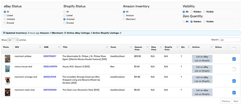 JoeLister Amazon Inventory