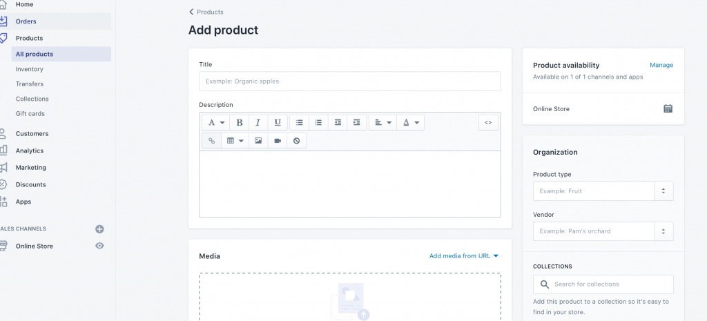 How Do I Sell on Shopify?  > Add Products