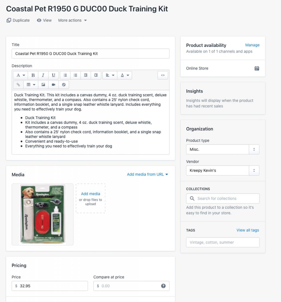 Listing Mirror to Shopify listing