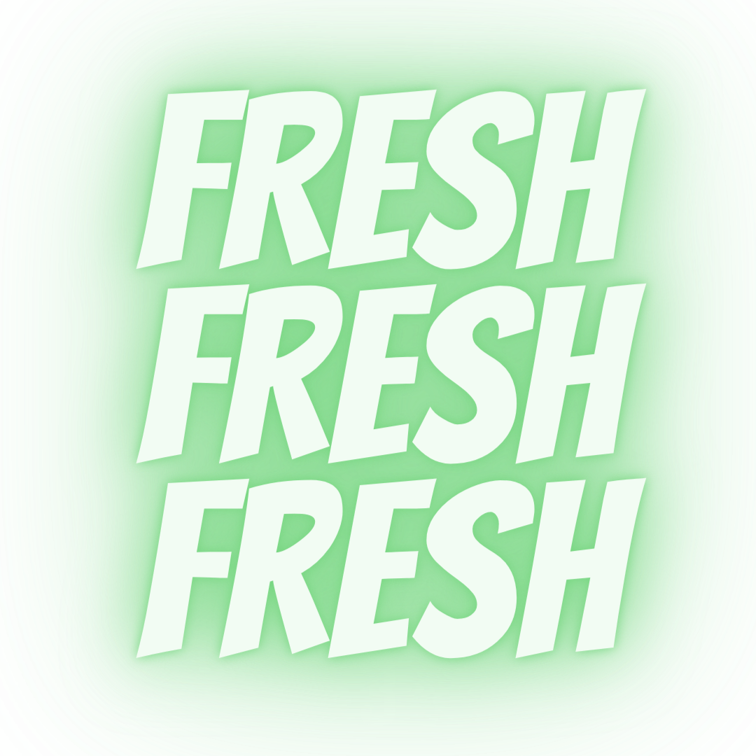 the words fresh in a logo