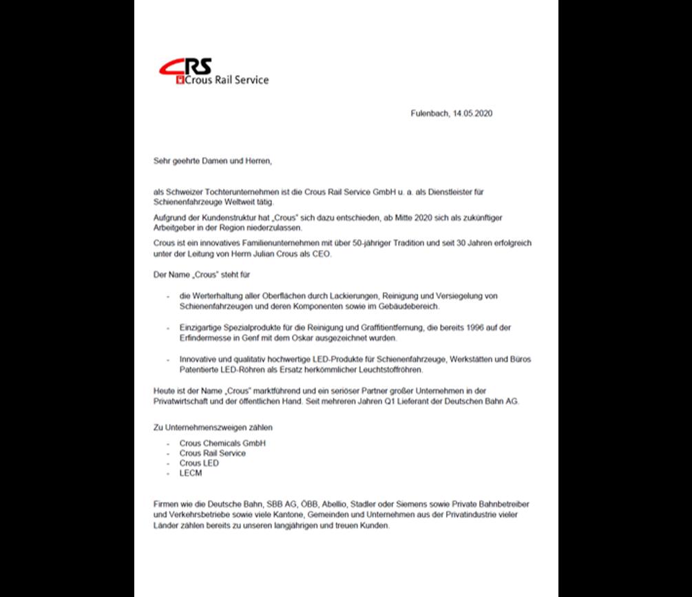 Crous Chemicals gründet die 100 prozentige Tochter Namens Crous Rail Service in Deutschland aus.