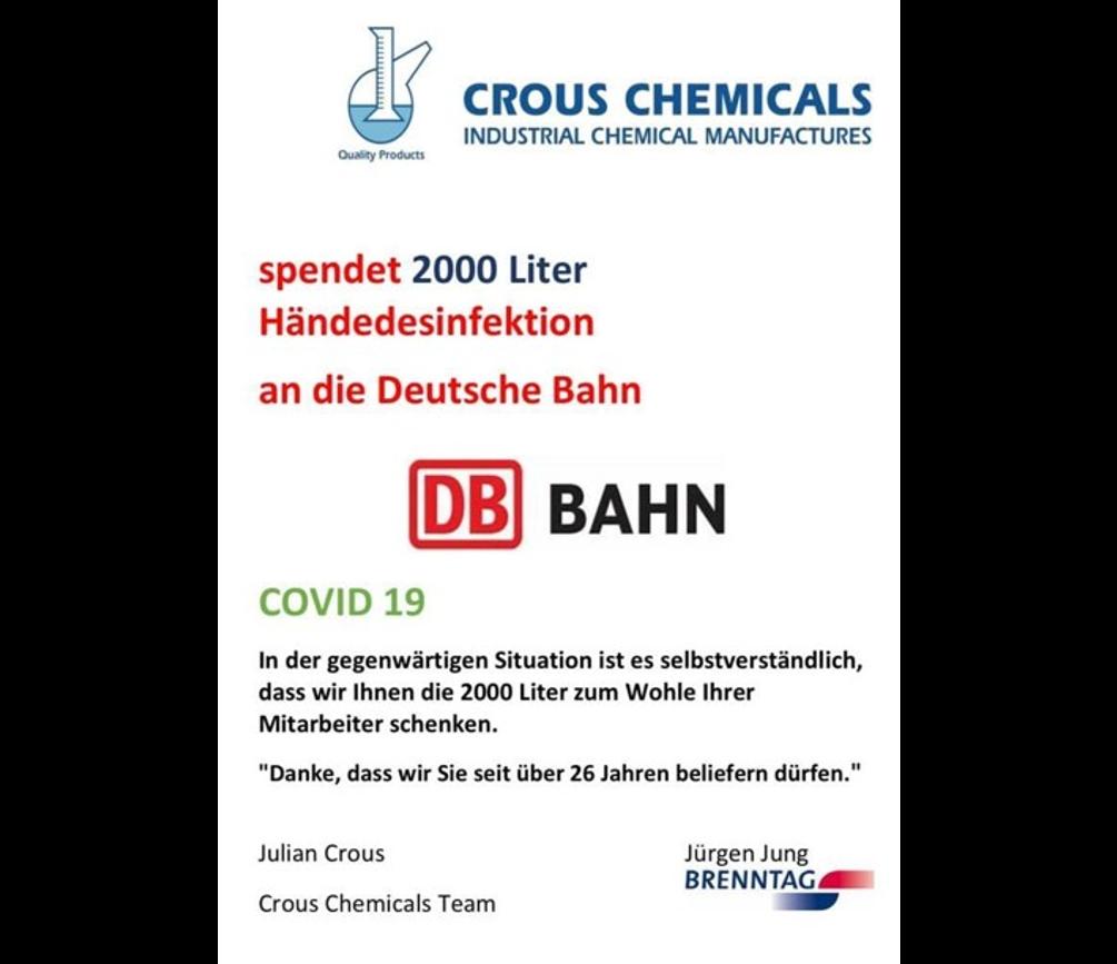 Über 2000 Liter Desinfektionsmittel wurden von Crous Chemicals bzw. Crous Rail Service an die Deutsche Bahn und die Gemeinde Schermbeck gespendet.