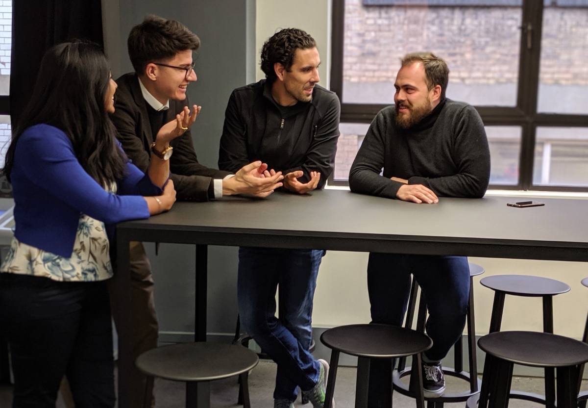 Figure 1: Anasuya Iyer, Head of Business Development, Nicolai Baldin, CEO, Vitor Rodrigues, Investor & Advisor, and Denis Borovikov, CTO.