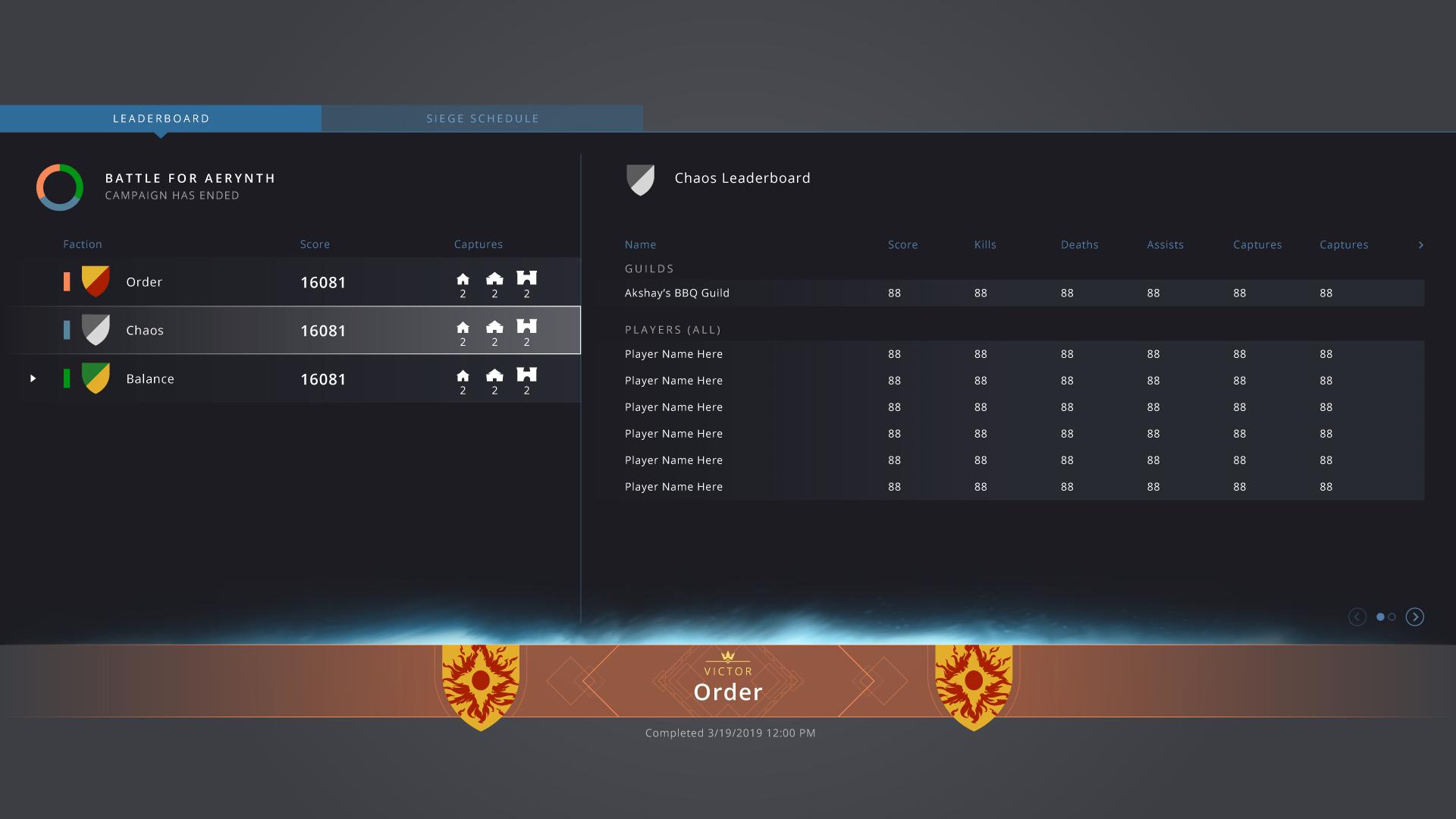 Full screen leaderboard
