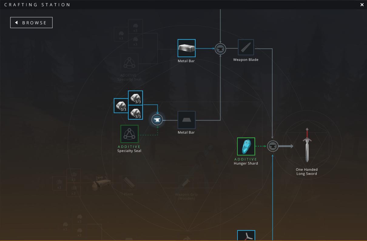 Alternate crafting interface