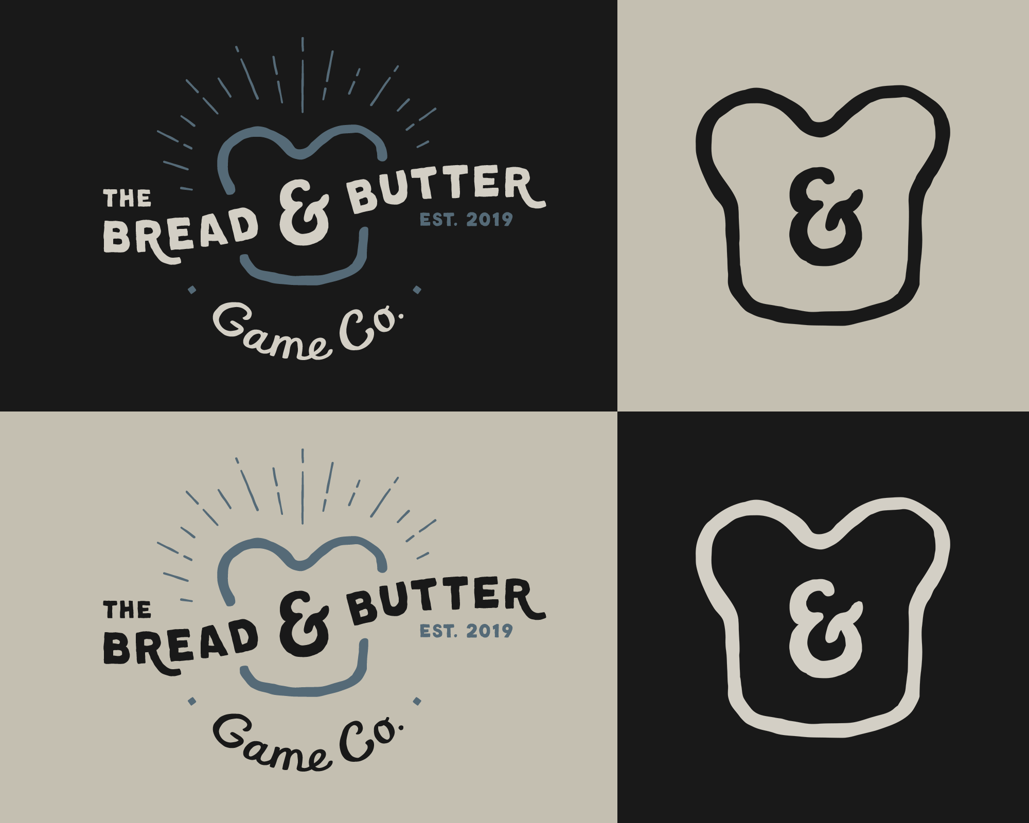Logo variants for The Bread & Butter Game Co.