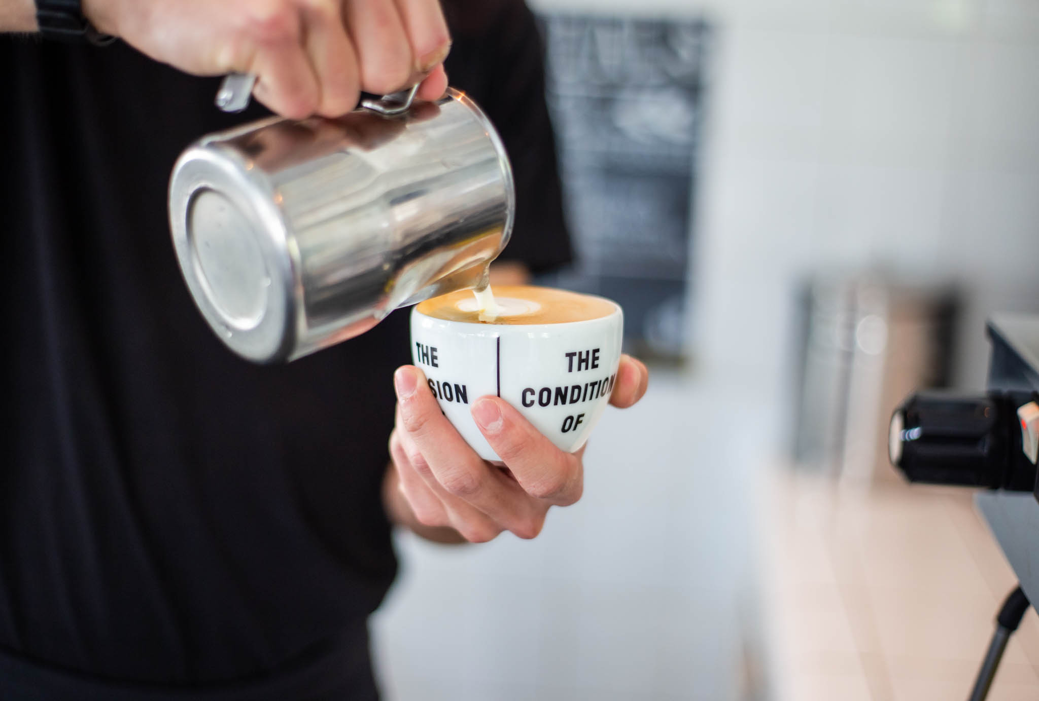 Bartender making a latte art