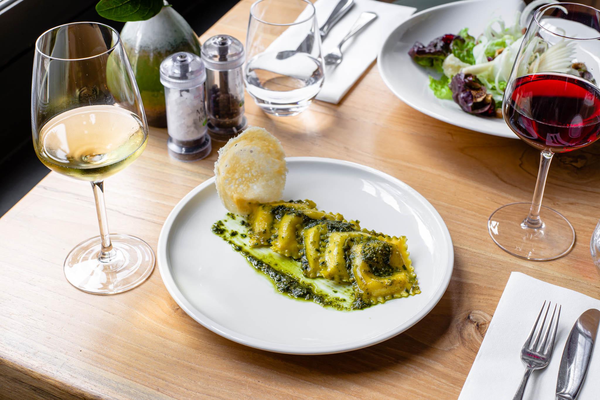 Italian dishes on the table of an Italian restaurant