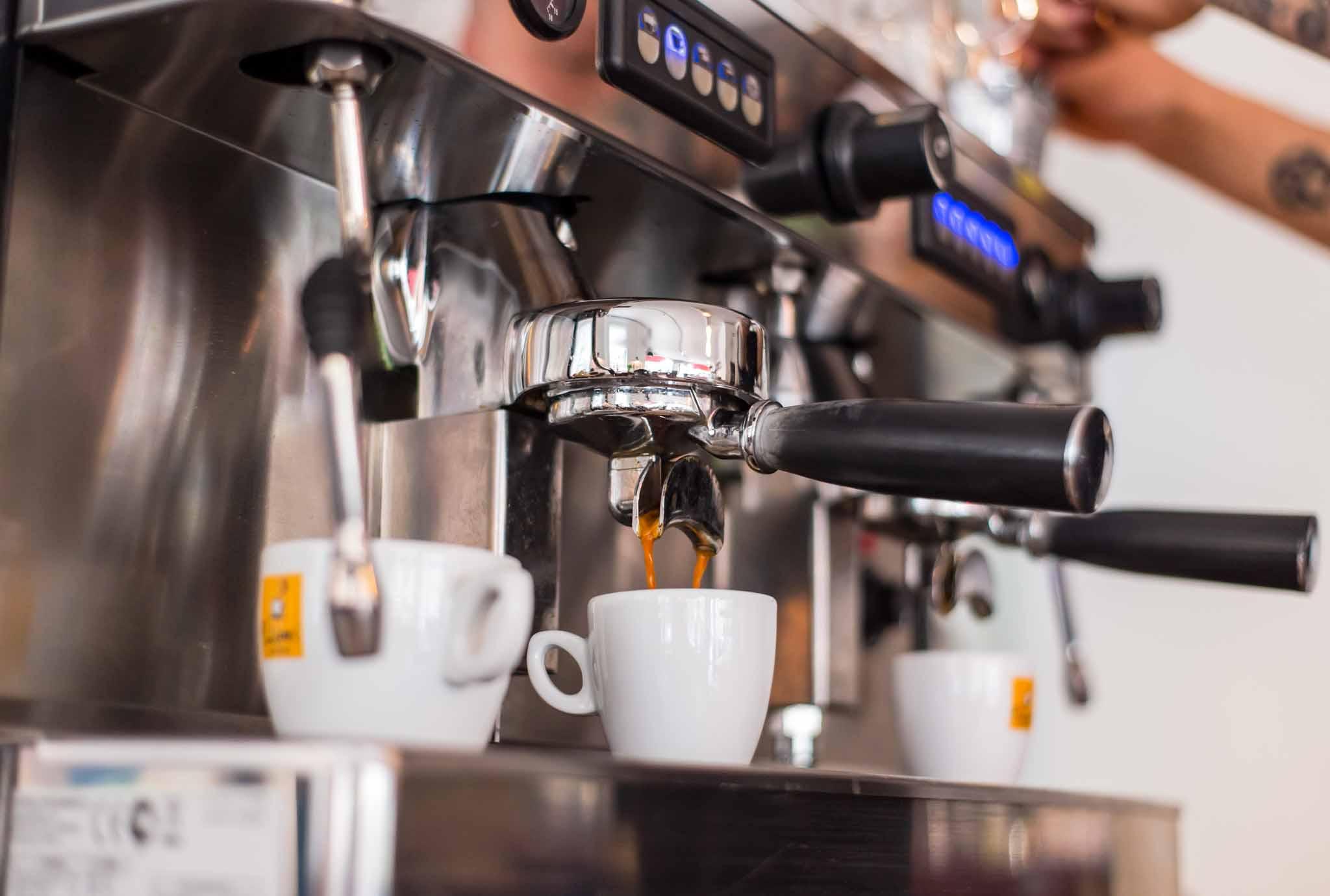 Closeup of espresso coffee from a coffee machine