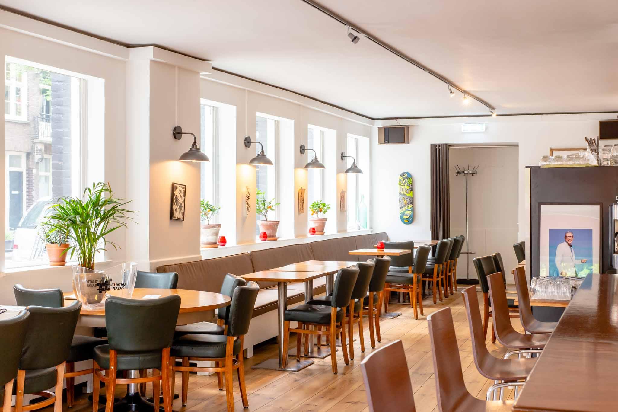 Bright interior of a cafe