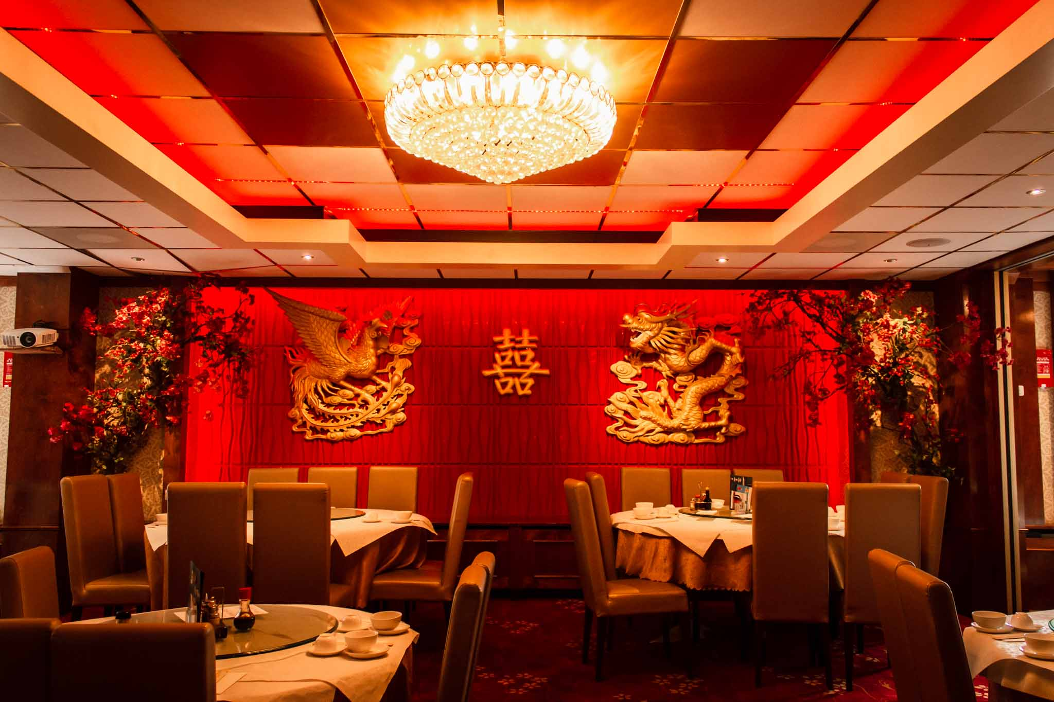 The interior of a Chinese restaurant