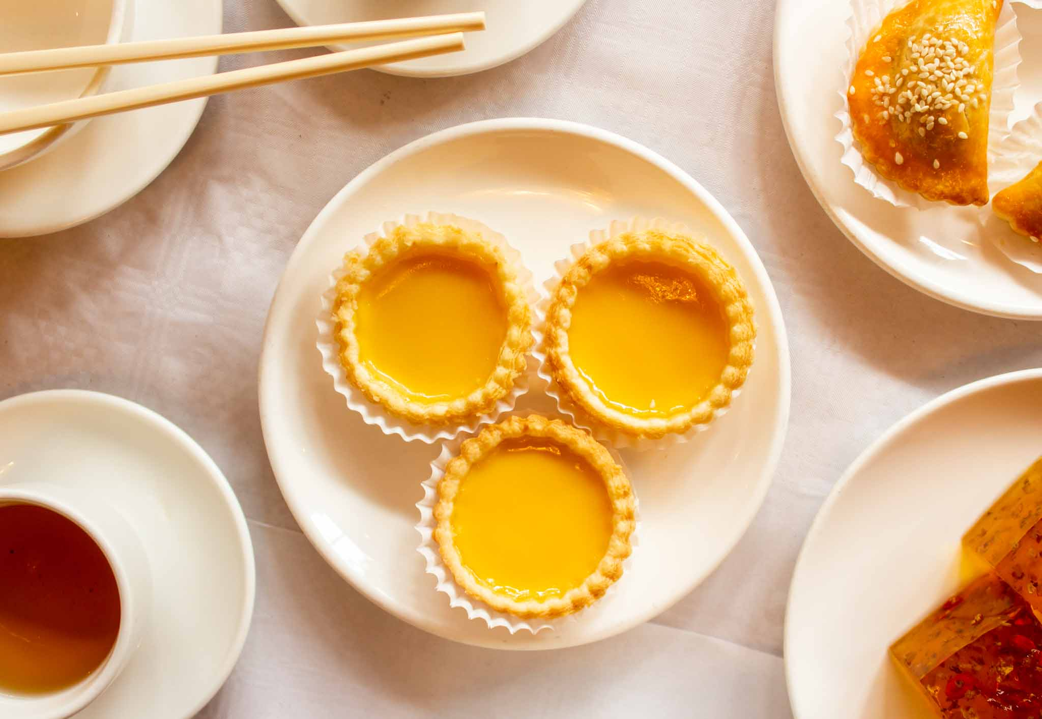 Closeup of Chinese sweet dish on a white background