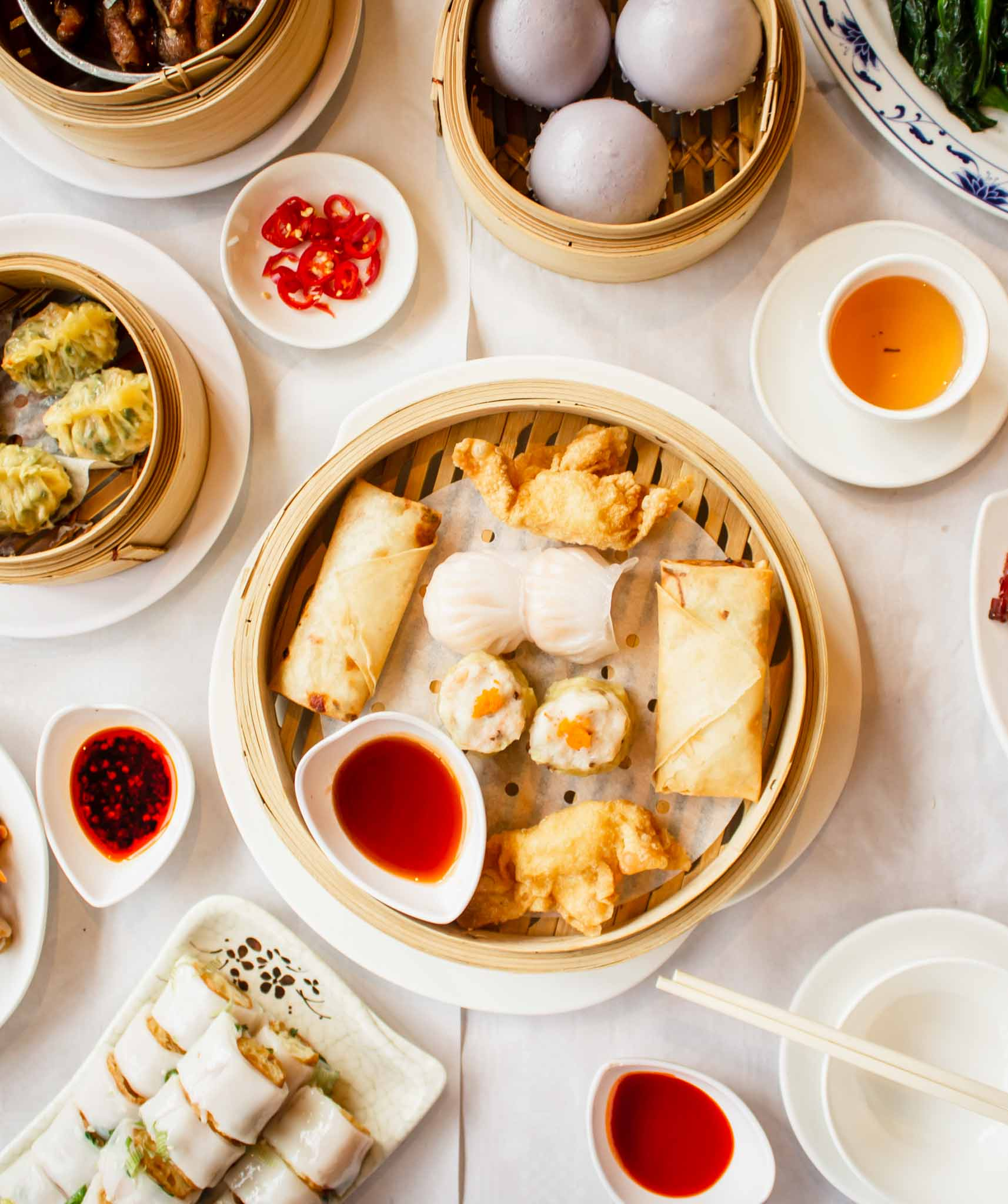 High angle view of Chinese Dim Sum dishes on the table