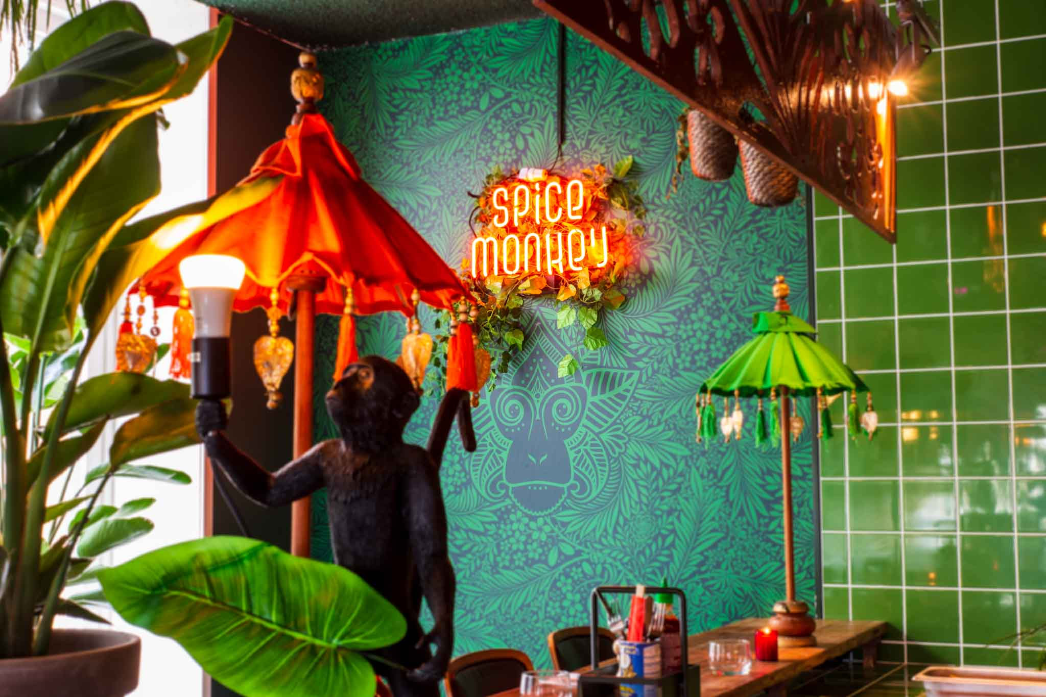 Attractive interior of an Indonesian restaurant