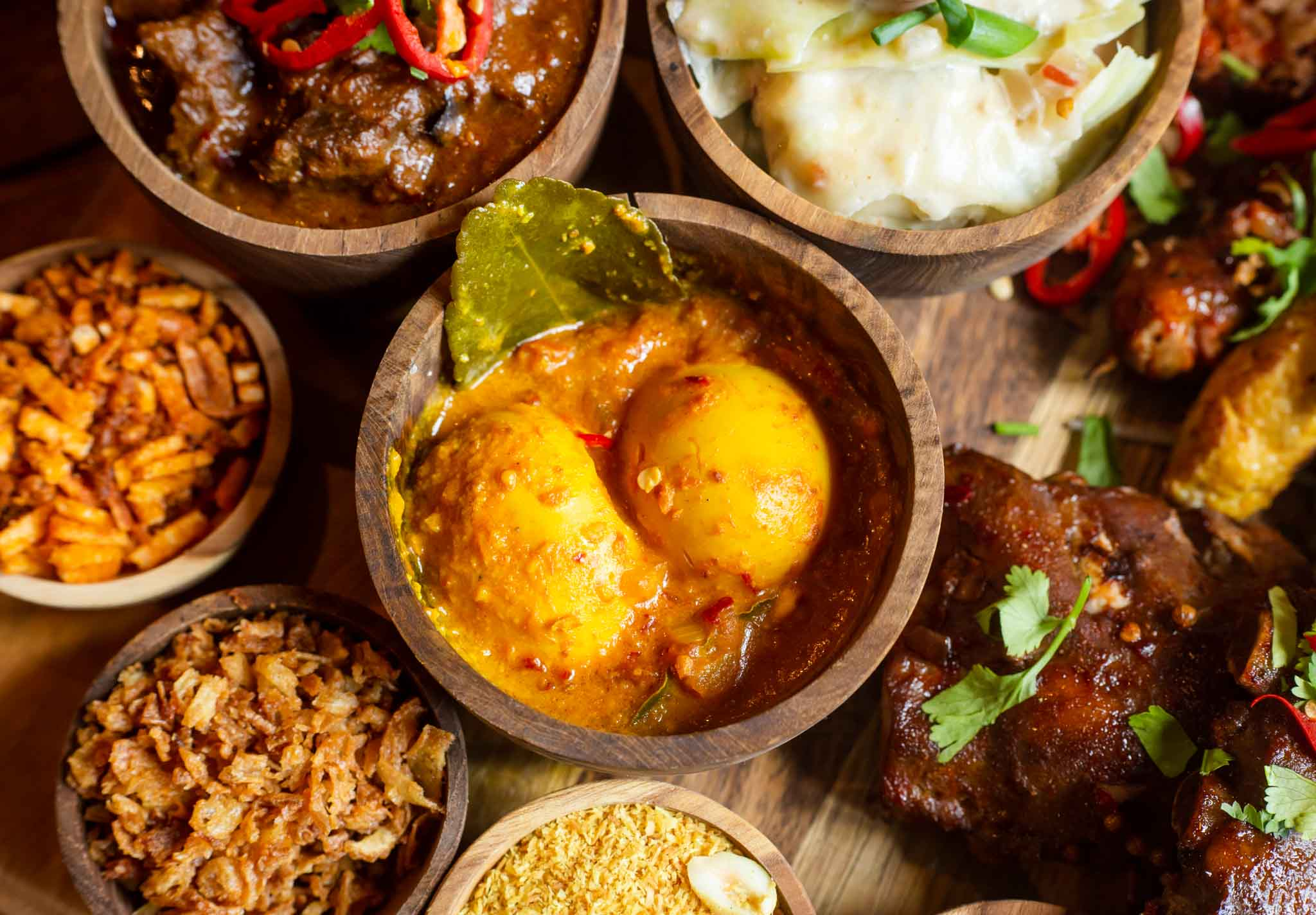 High angle view of Indonesian dishes