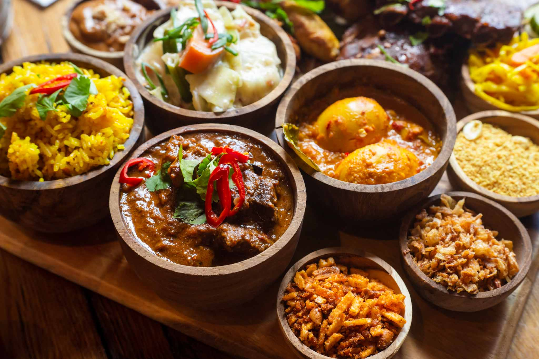 Closeup of Indonesian dishes on the table