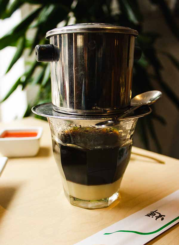 A cup of Vietnamese coffee on the table