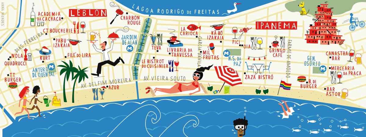 Mapa dos bairros Leblon e Ipanema