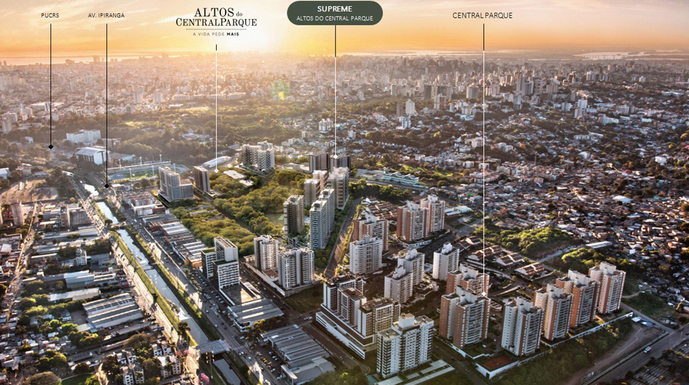 Imagem aérea que mostra a proximidade do empreendimento com pontos importantes