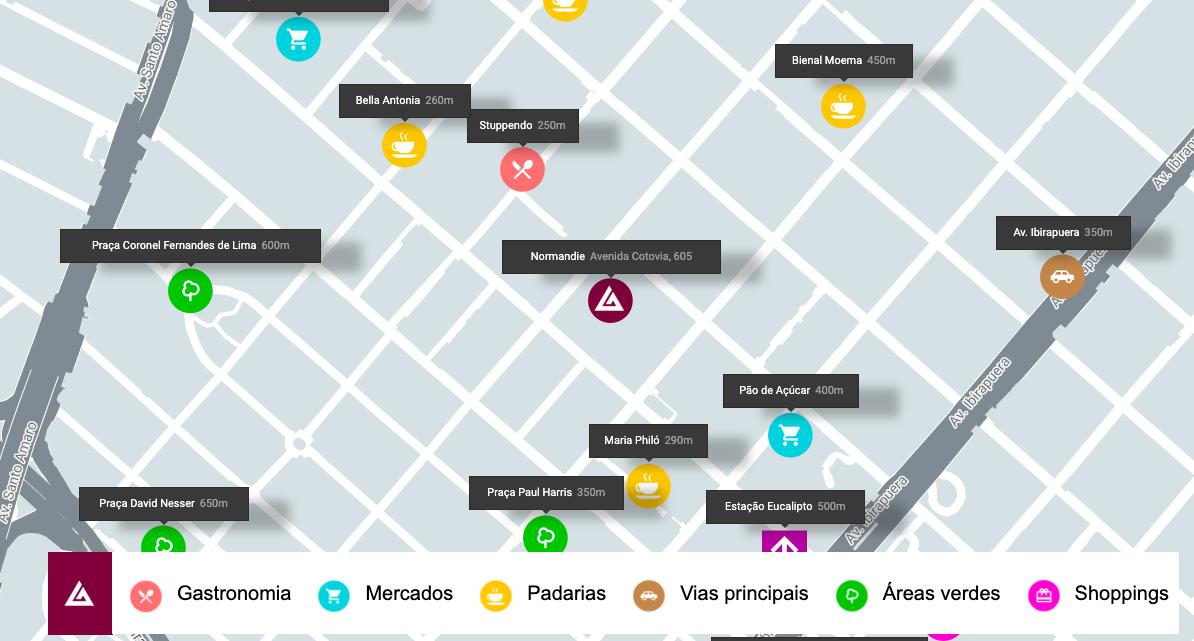 No mapa da Gafisa, incluímos também as distâncias do empreendimento até cada ponto do mapa.
