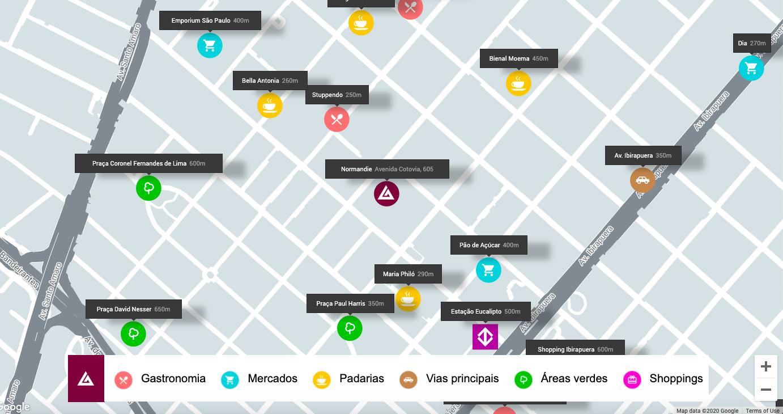mapa interativo para marketing de imóveis de alto padrão