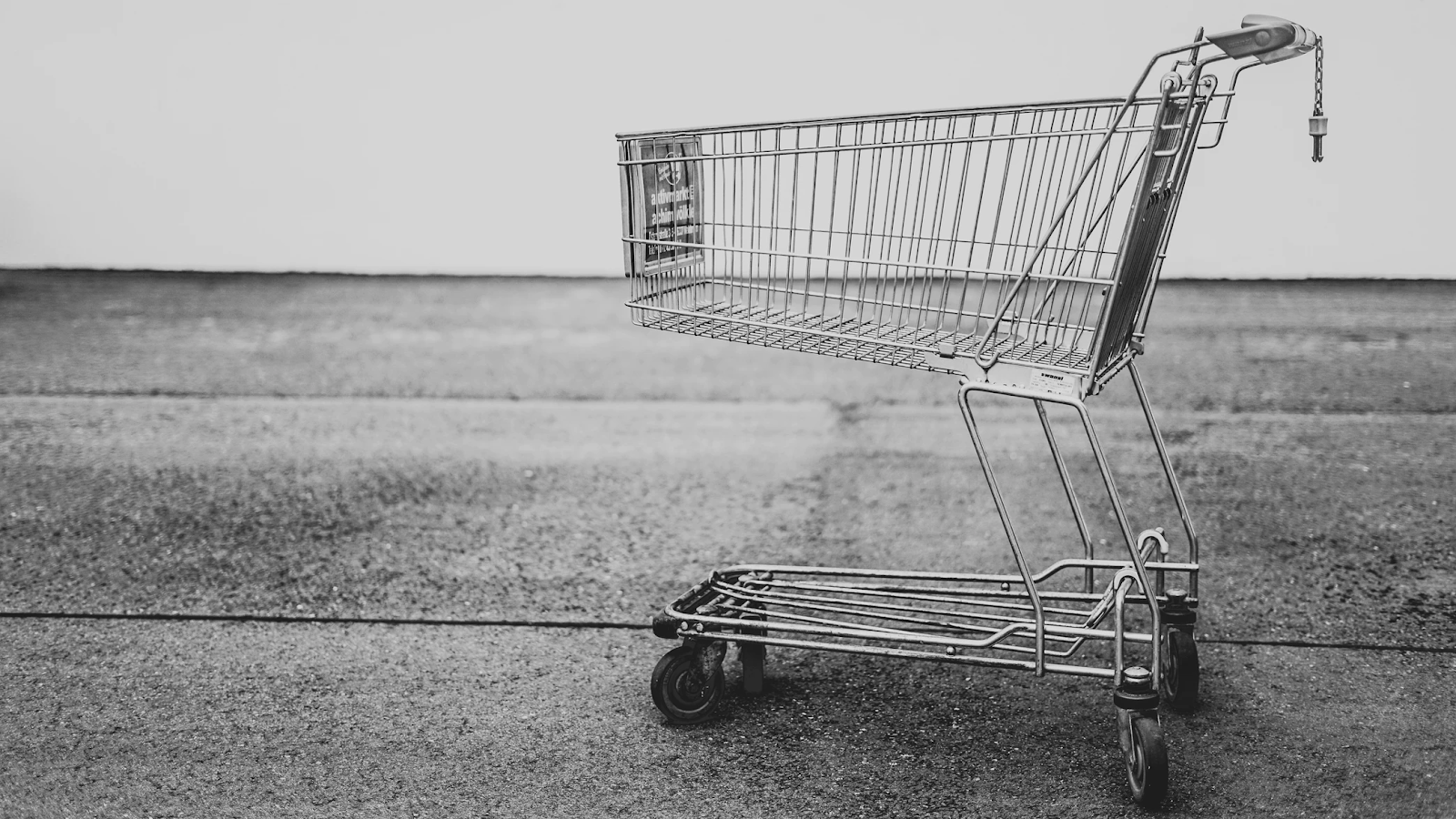 Black and white picture of a shopping cart