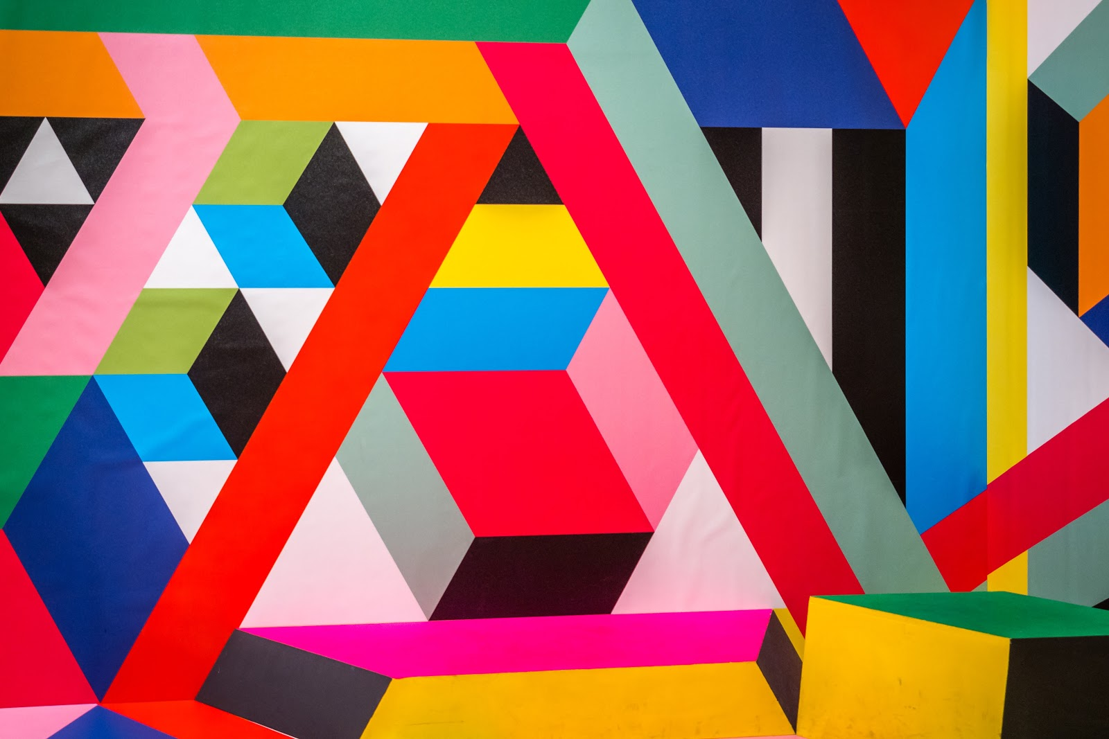 A photo of a colorful, geometric painting