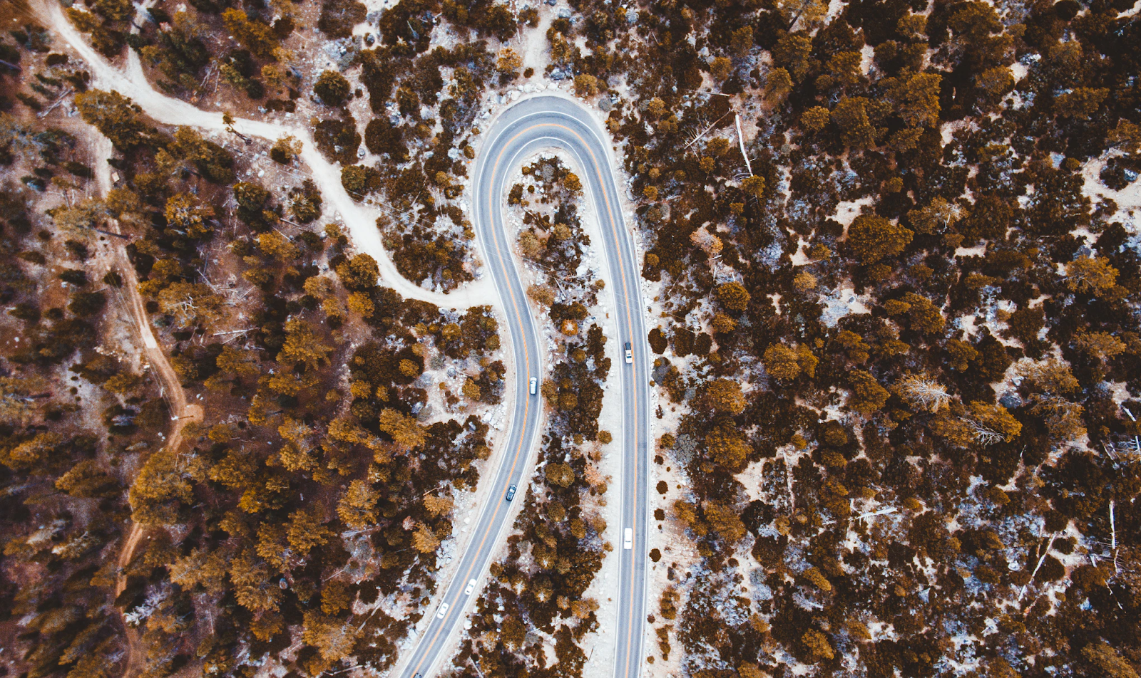 Overhead view of a curved road