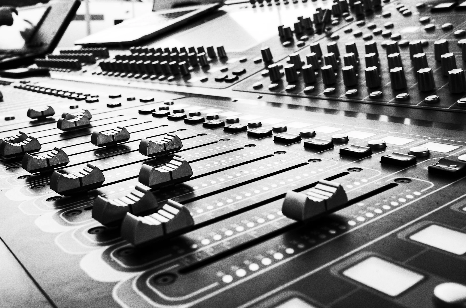 Black and white photo of audio switchboard