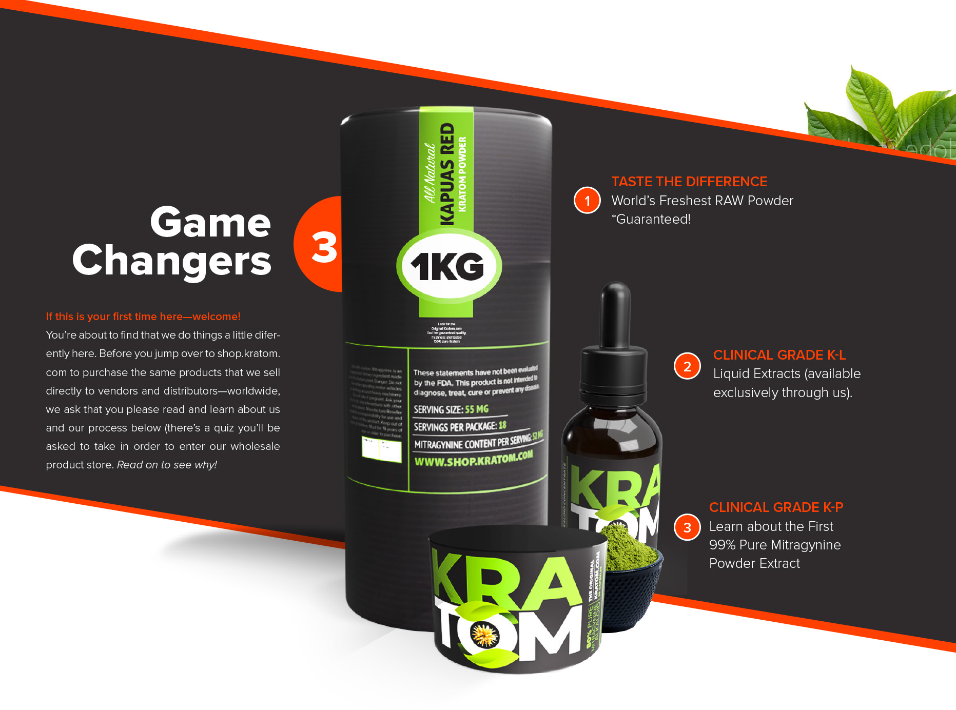 Kratom.com has been a leader in the industry for the past 20 years, introducing some of the highest yielding Kratom extracts along with Maeng Da ( the world's most popular Kratom Powder brand) and Bali Premium