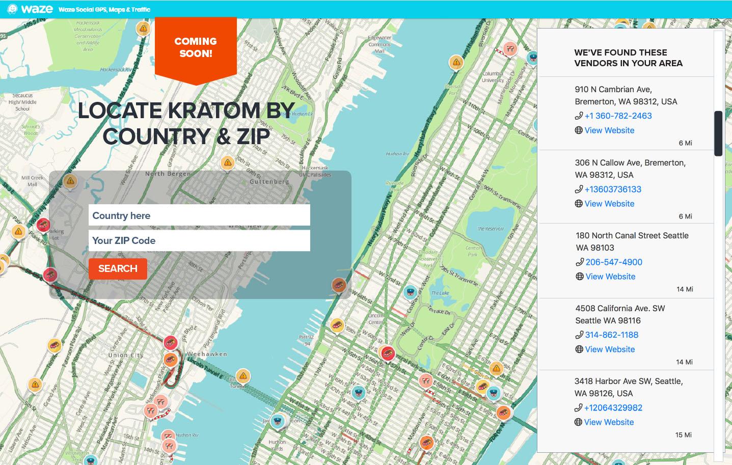 Kratom Vendor Map Locator