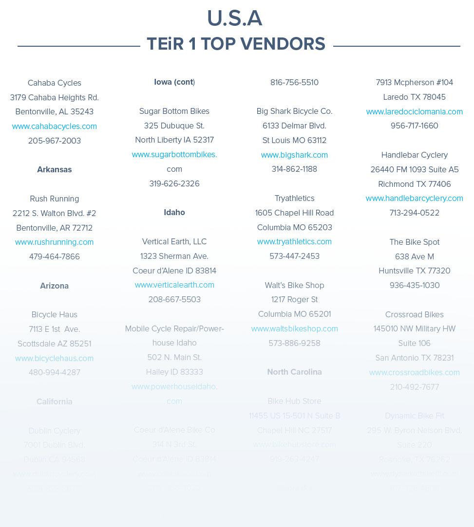 USA Tier 1 Top Vendors