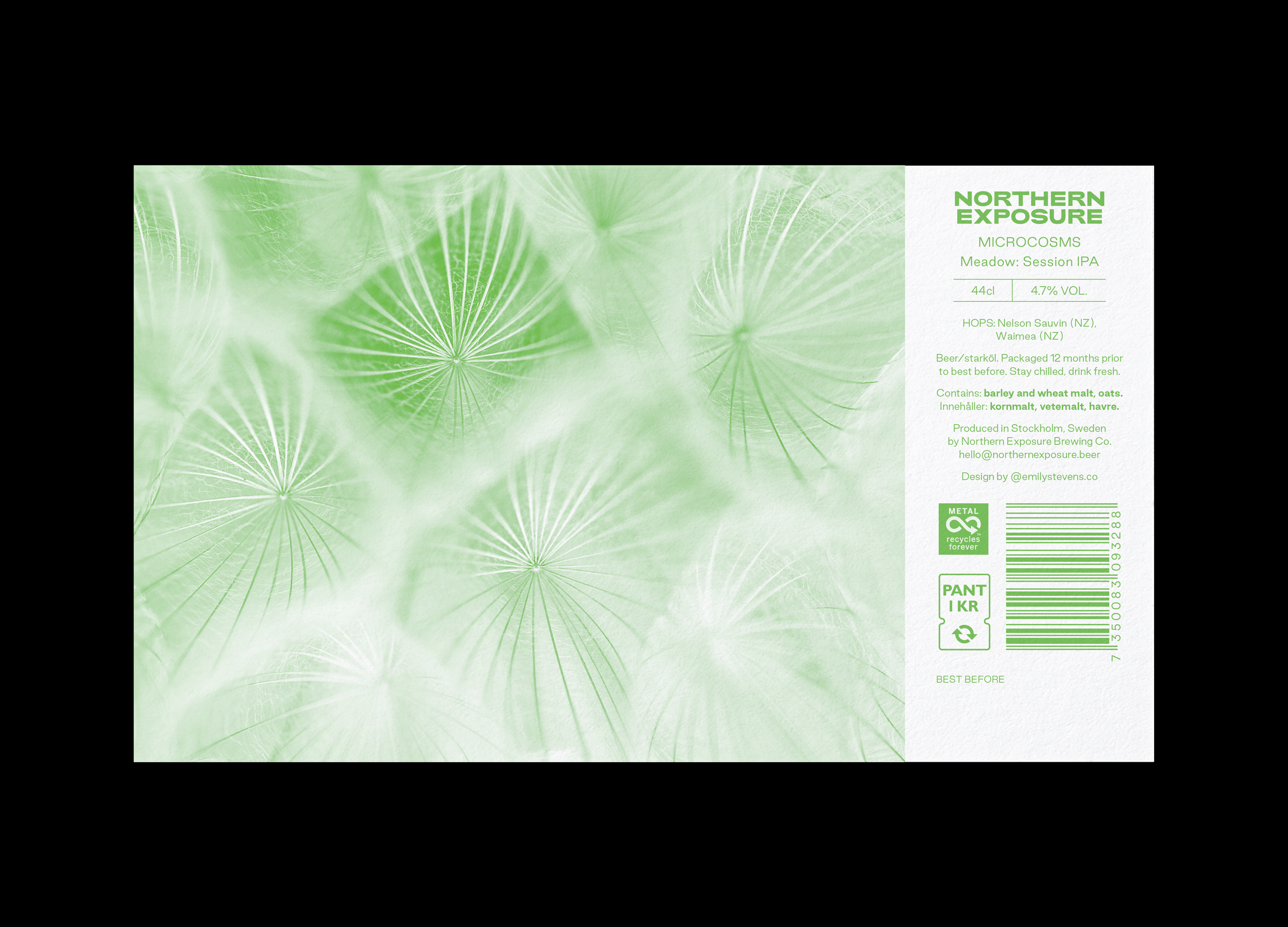 Northern Exposure label design for Microcosms: Meadow