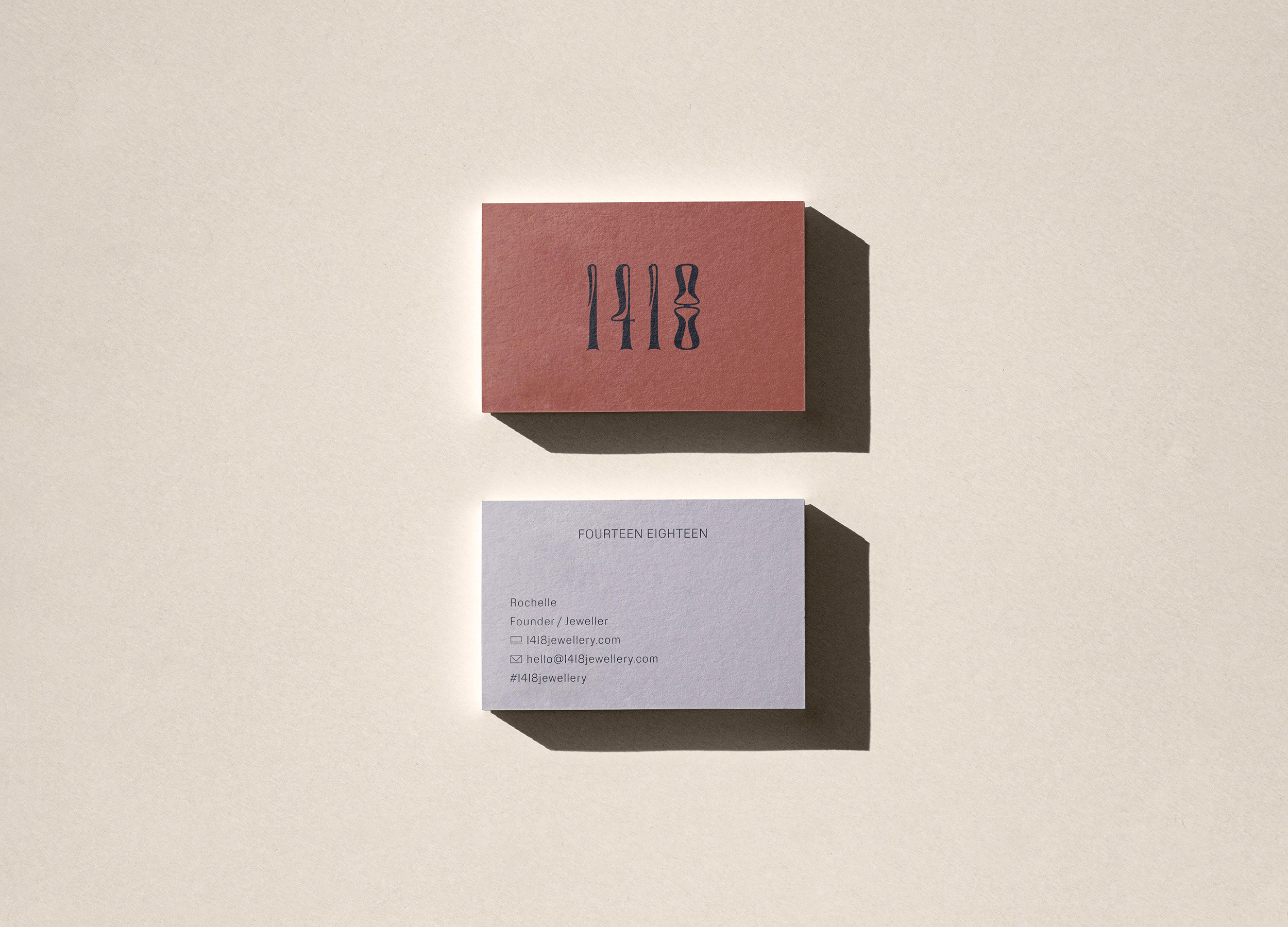 Business card design for 1418 Jewellery