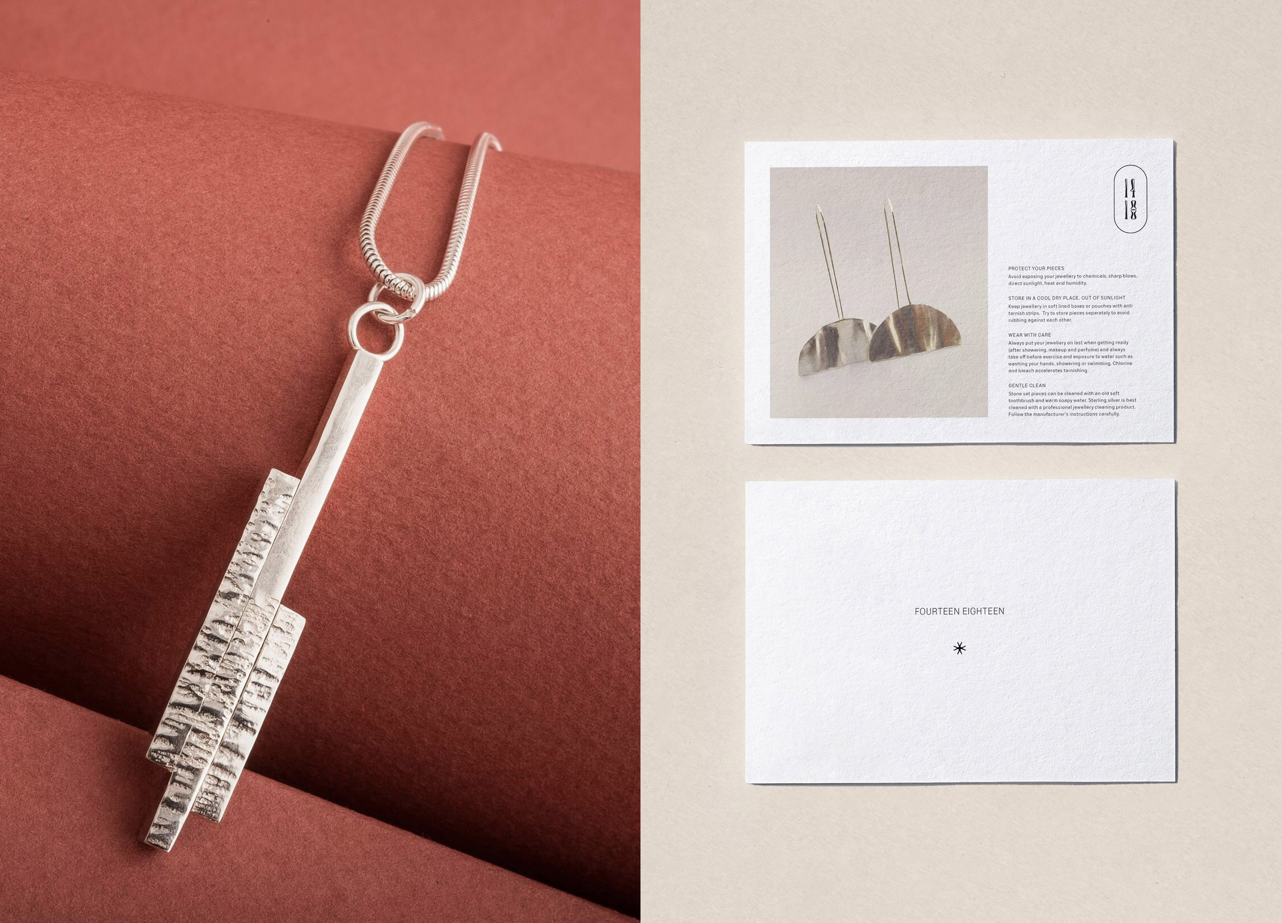1418 earrings and care card design