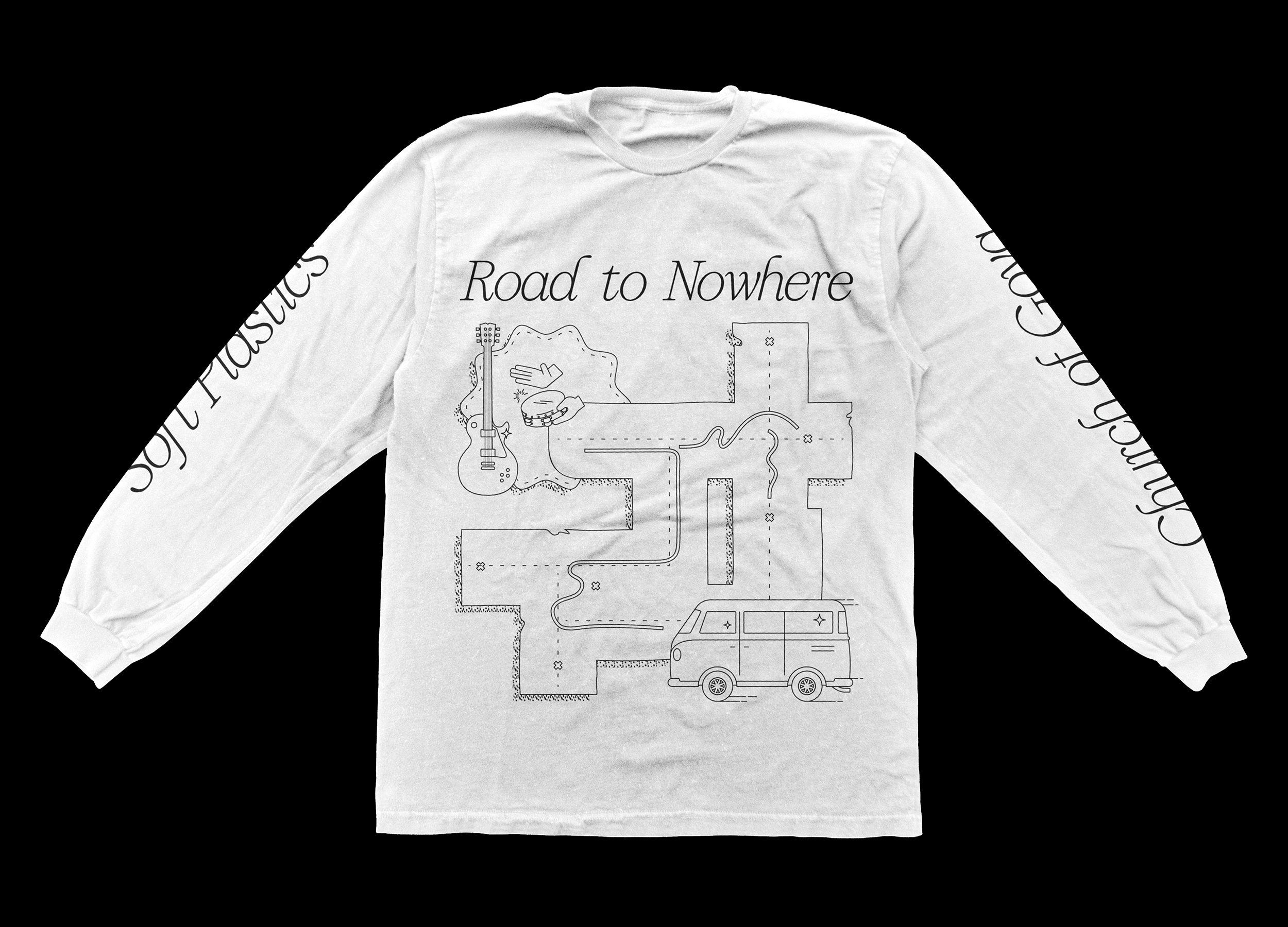 Road to Nowhere long sleeved T-shirt design in white