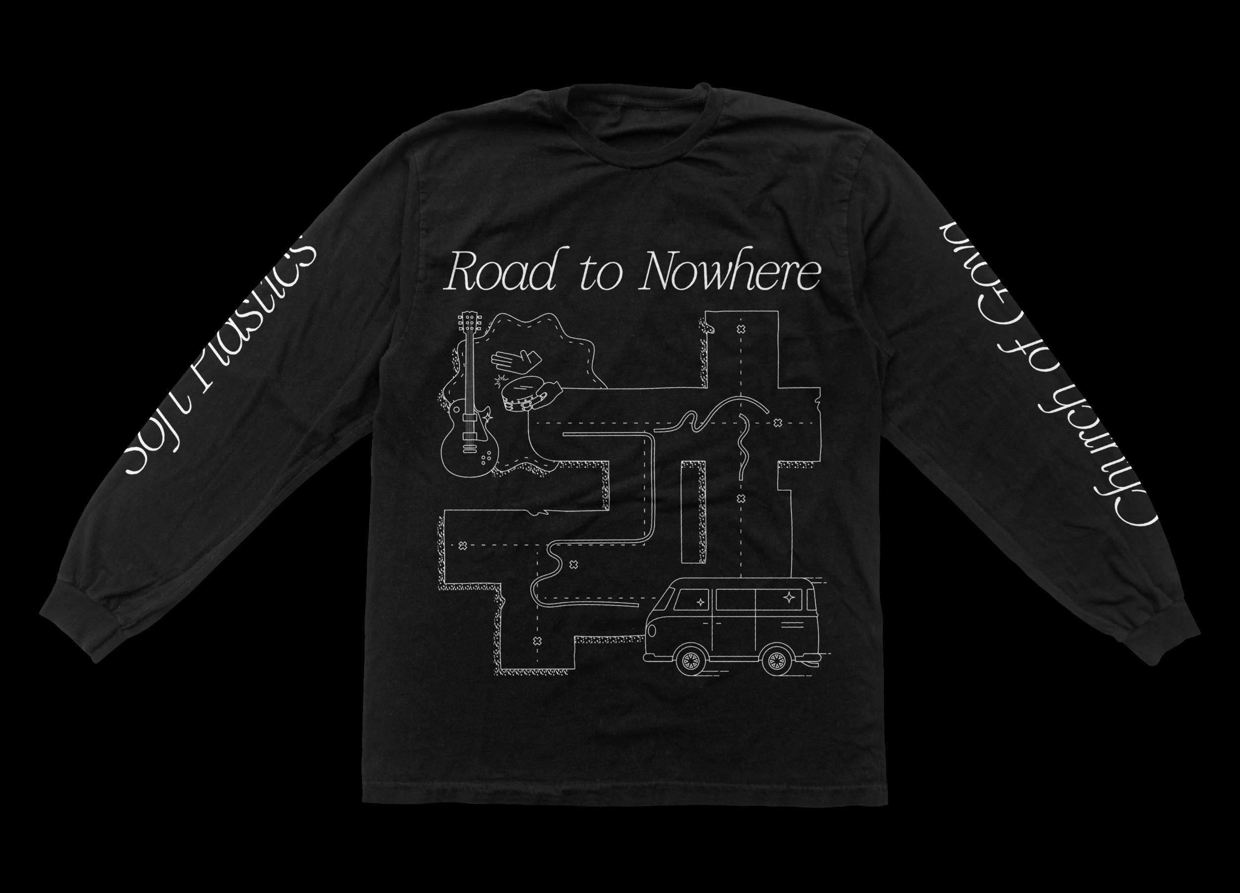 Road to Nowhere long sleeved T-shirt design in black