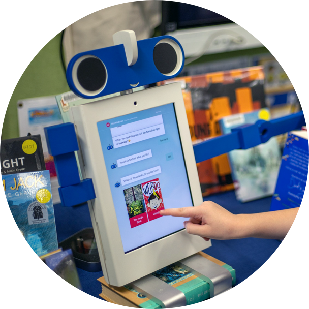 A robot like touchscreen kiosk for the Wriveted bookbot