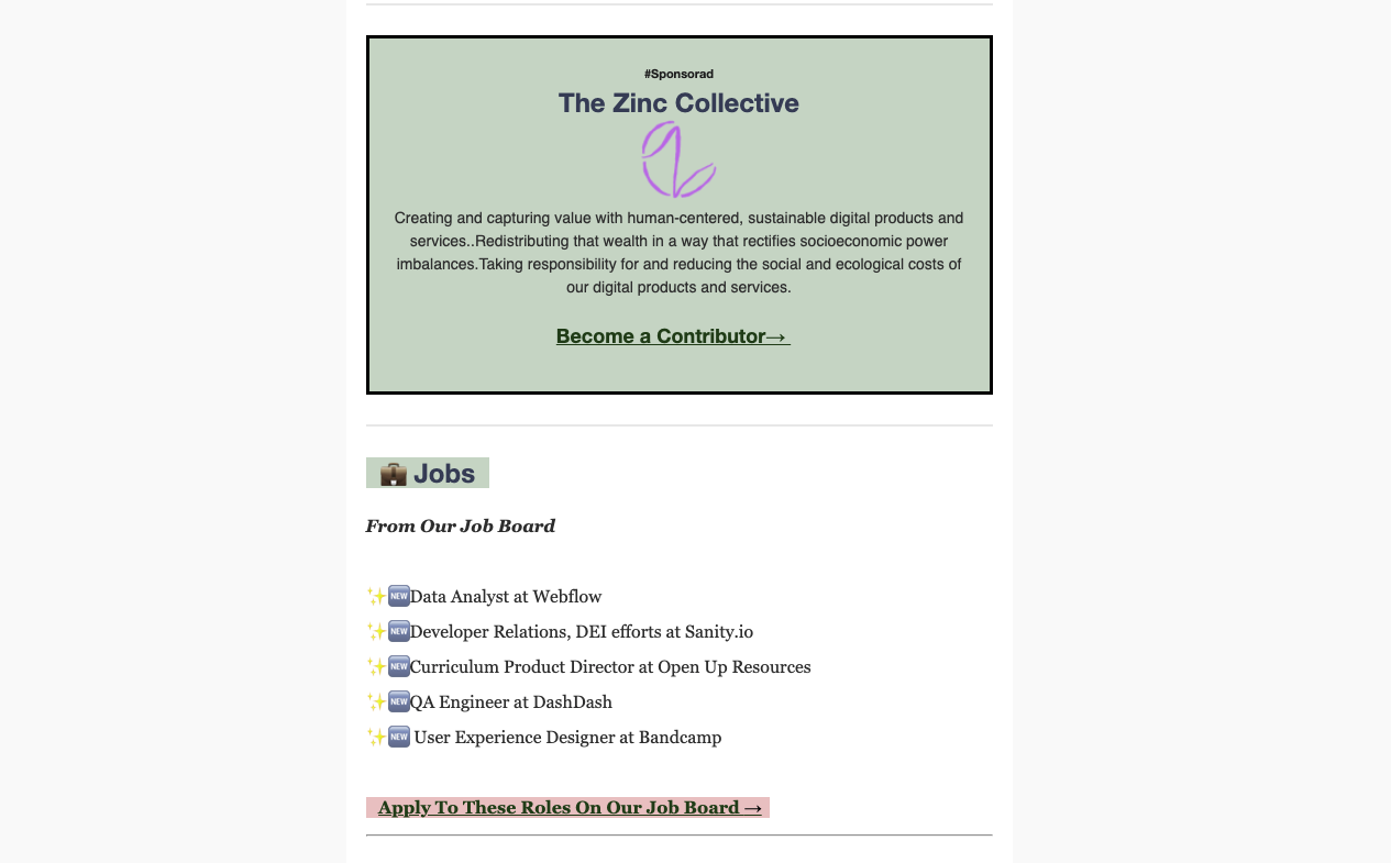 A screenshot of a newsletter with an ad for The Zinc Collective.
