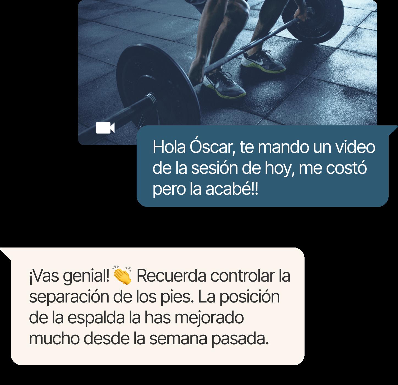 Conversación de chat entre entrenador y cliente