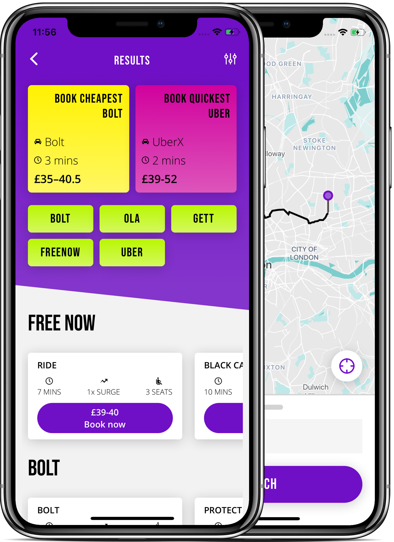 ridehub app map page and results page