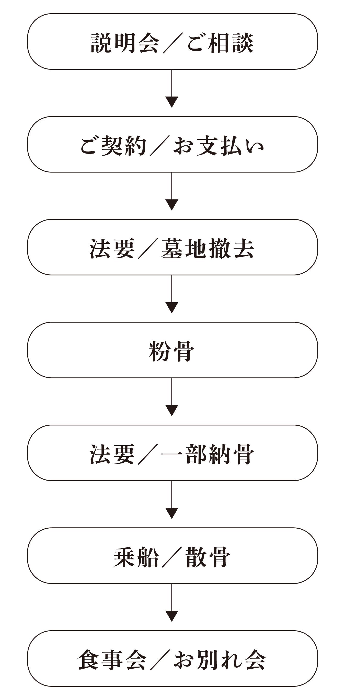 説明会/ご相談 ご契約/お支払い 法要/墓地撤去 乗船/散骨 食事会/お別れ会