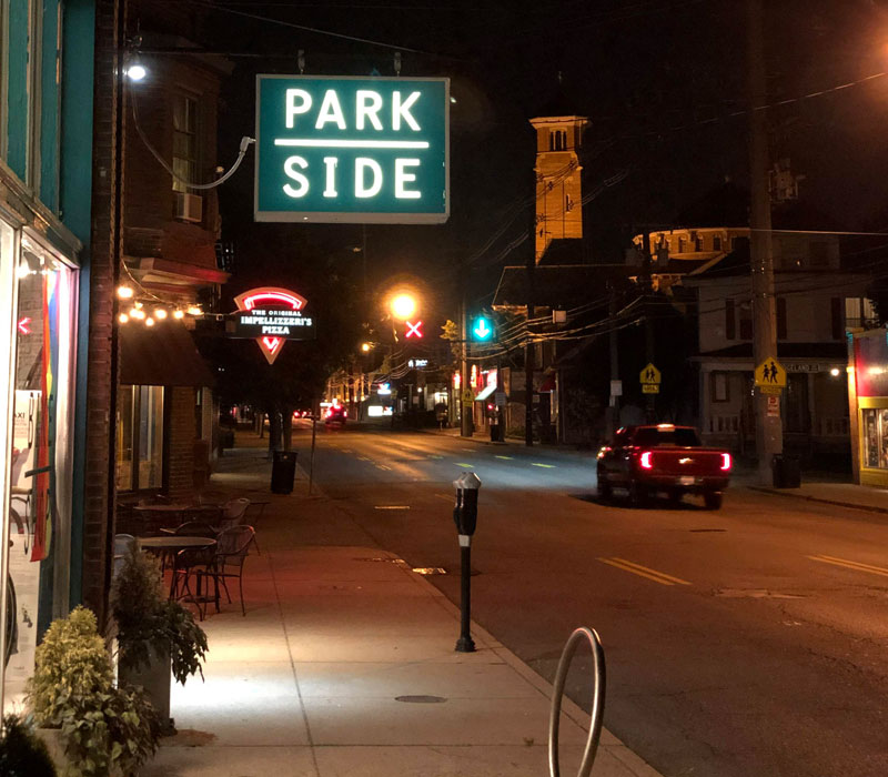 Bardstown Road commercial corridor at night