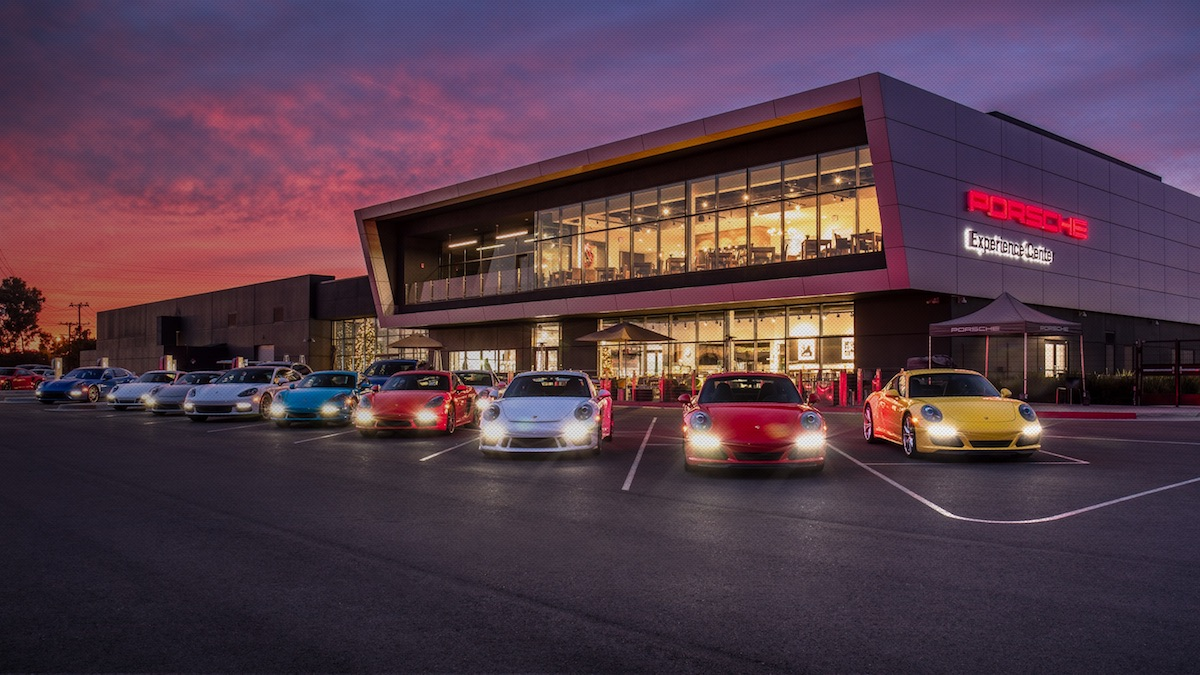 Porsche Experience Center Los Angeles at night