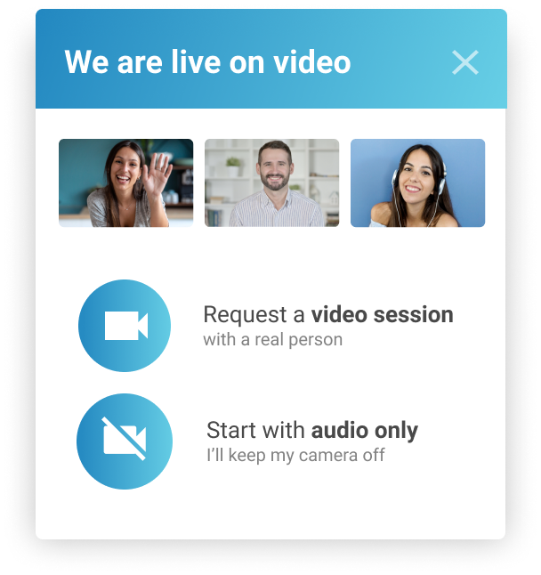 Uptok Widget to Request a Video Chat or Audio Call