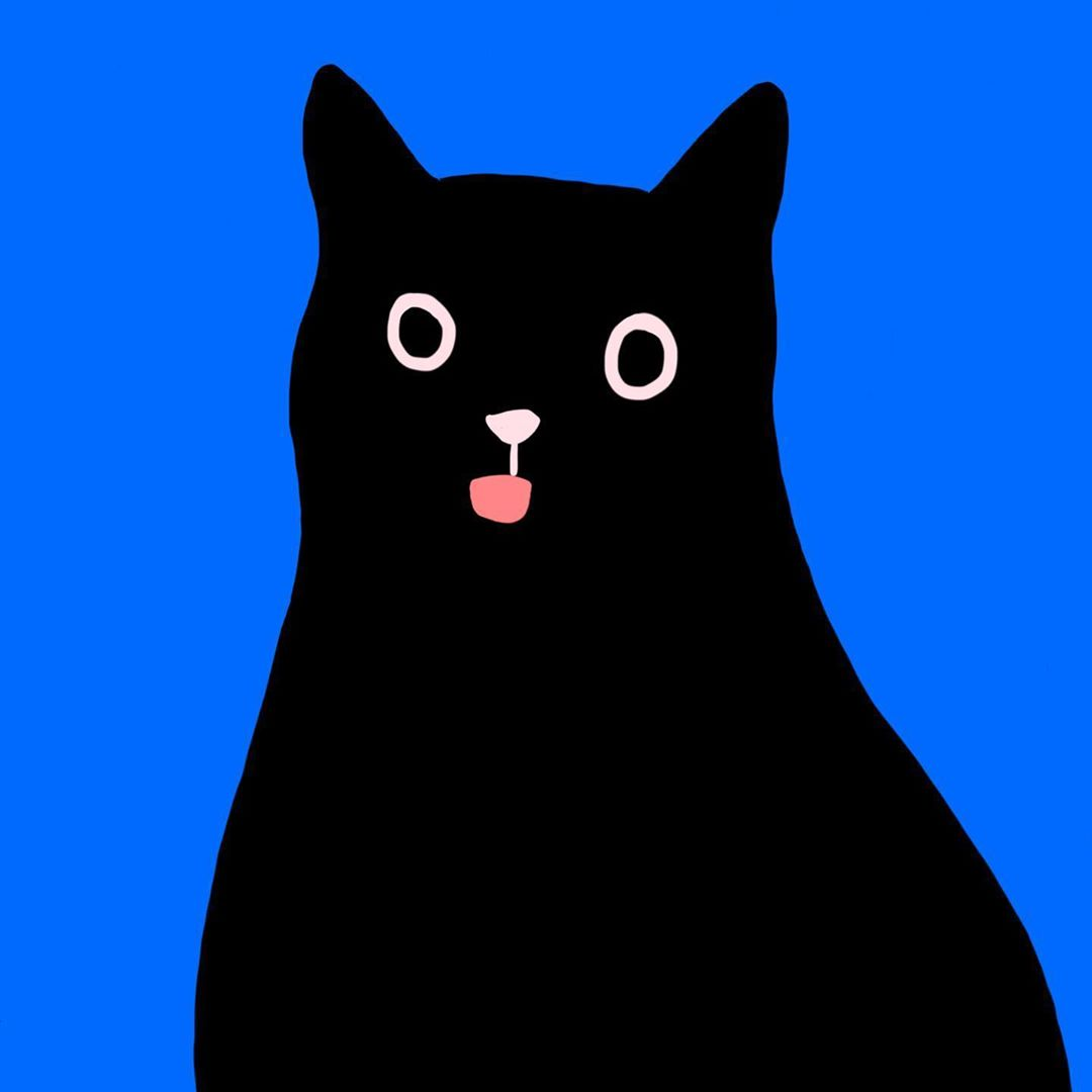 An illustration of a black cat on a blue background