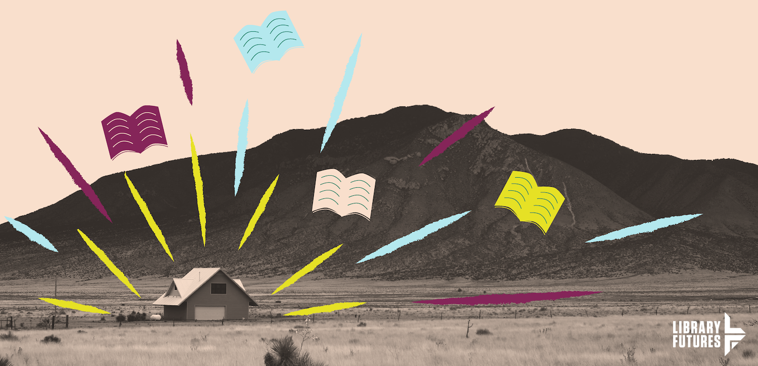 Books flying in to mountain with LF logo