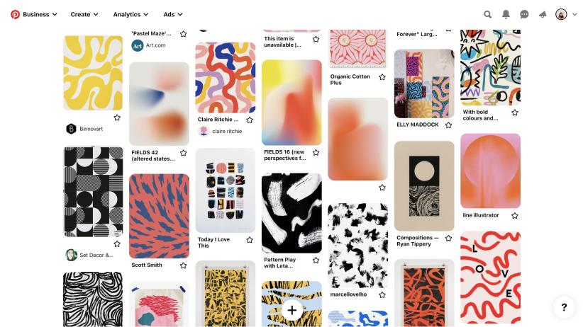 screenshot of Pinterest board full of colourful patterns