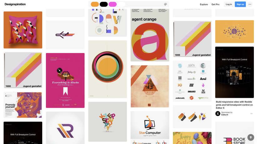 Screenshot of Designspiration website showing a grid of image results for a search by colour
